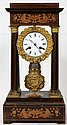 FRENCH ROSEWOOD & MARQUETRY PILLAR MANTEL CLOCK