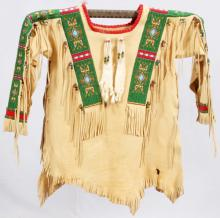 OGLALA SIOUX BEADED HIDE WAR SHIRT
