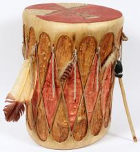 NATIVE AMERICAN PAINTED RAWHIDE & WOOD DRUM