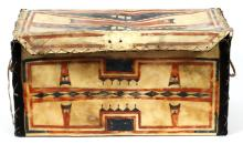 NATIVE AMERICAN PAINTED PARFLECHE TRUNK