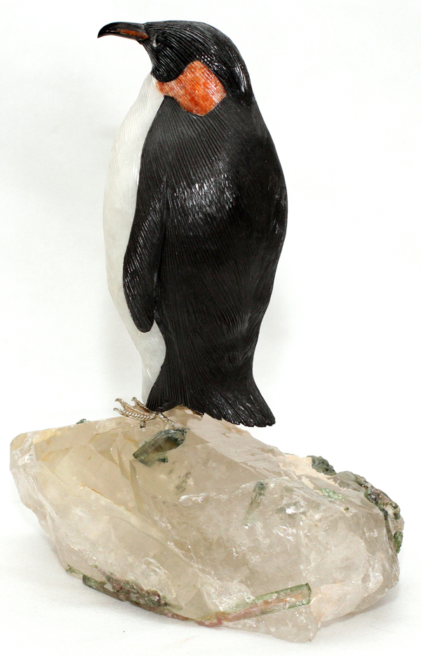 Carved stone bird sculpture