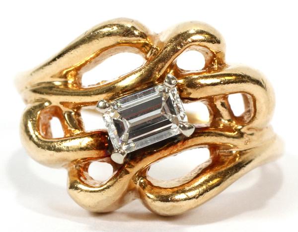 50ct Emerald Cut Diamond Amp 14kt Yellow Gold Ring