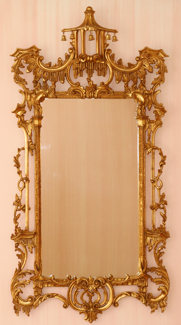 Chinese chippendale style gilt mirror for Asian style mirror