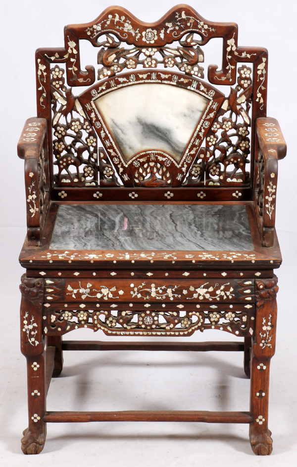 Chinese carved wood marble mother of pearl chair