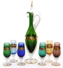 BOHEMIAN STYLE COLORED GLASS DECANTER AND GOBLETS