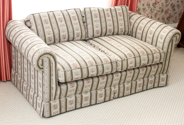 Love Seat W Floral And Striped Damask Upholstery