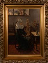 """EDMUND BLUME (MUNICH, 1844-11), OIL ON CANVAS, 1889, H 35"""", W 24"""", WOMAN SPINNING THREAD"""