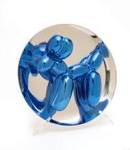 """JEFF KOONS (AMERICAN, 1955) PORCELAIN MULTIPLE PAINTED IN CHROME 2002 H 10.375"""" W 5"""" BALLOON DOG (BLUE)"""
