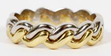 GERMAN 18KT YELLOW AND WHITE GOLD GENTLEMAN'S BAND