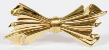 ITALIAN 18KT YELLOW GOLD BOW FORM PIN