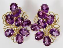 AMETHYST AND 14KT GOLD EARRINGS