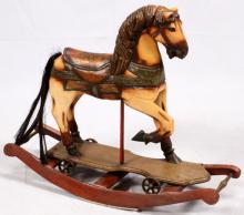 CARVED WOOD HAND PAINTED ROCKING HORSE 20TH CENTURY