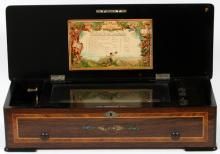 GERMAN FRUITWOOD INLAY MUSIC BOX MANDOLINE