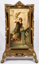 ROCOCO-STYLE HAND PAINTED FIRE SCREEN 20TH C.