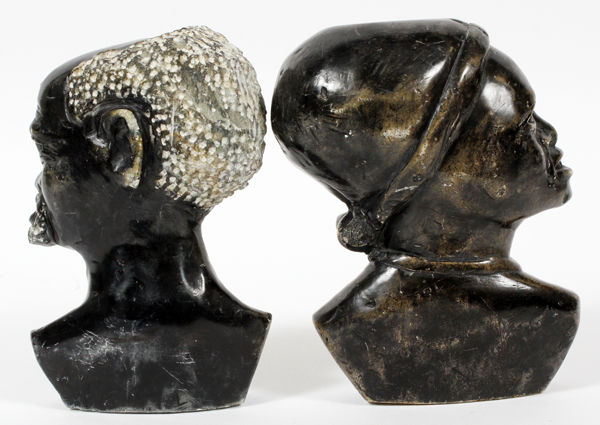 African black stone carved busts man and woman