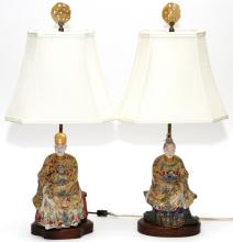 CHINESE POLYCHROME FIGURES MOUNTED AS  LAMPS, PAIR