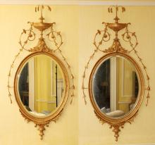 GOLD LEAF CARVED WOOD BEVELED GLASS MIRRORS PAIR