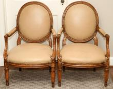 LOUIS XVI STYLE CARVED WALNUT CHAIRS PAIR