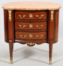 FRENCH WALNUT & FRUITWOOD THREE-DRAWER COMMODE