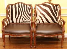 FRENCH CARVED WALNUT ARM CHAIRS PAIR