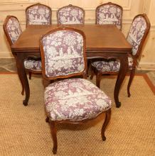 COUNTRY FRENCH WALNUT BREAKFAST TABLE, CHAIRS