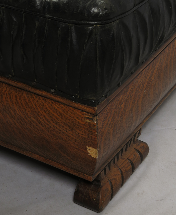 Carved oak and leather chaise lounge early 20th c for Carved chaise lounge
