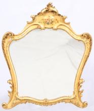 VINTAGE GILT WOOD AND HAND PAINTED MIRROR
