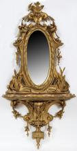GILT WOOD CONSOLE AND MIRROR 19TH C.
