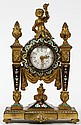FRENCH D'ORE BRONZE & CHAMPLEVÉ FIGURAL CLOCK, LATE 19TH-EARLY 20TH C., H 8 3/4