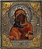 RUSSIAN SILVER & ENAMEL OKLAD ICON OF THE VLADIMIR MOTHER OF GOD, 12 1/2