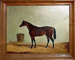 "GEORGE FENN, OIL ON PANEL, 19"" X 24"", PORTRAIT OF STALLION"