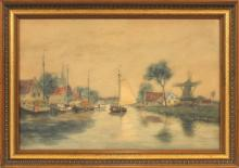 GEORGE HERDLE WATERCOLOR 1911, DUTCH CANAL SCENE