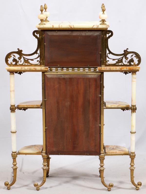 Onyx brass and mirror etagere 1870 for Miroir etagere