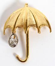 .50CT DIAMOND AND 14KT YELLOW GOLD UMBRELLA PIN