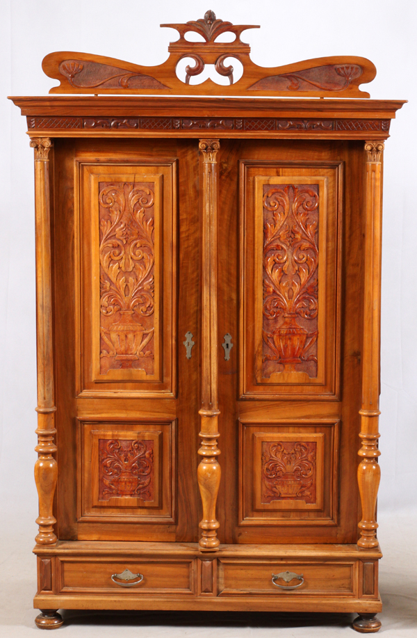 art nouveau style oak armoire 20th c. Black Bedroom Furniture Sets. Home Design Ideas