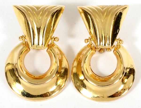 14KT GOLD DANGLE EARRINGS, PAIR, H 1 3/8