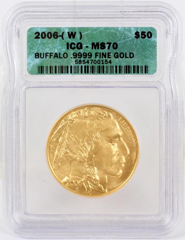 US BUFFALO 1 OZ. GOLD $50 COIN, 2006 ICG MS70