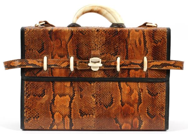 LOWELL, BONE & PYTHON SNAKESKIN SHOULDER BAG