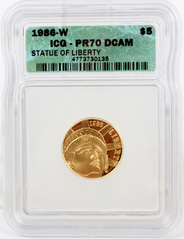 AMERICAN STATUE OF LIBERTY $5 GOLD COIN, 1986