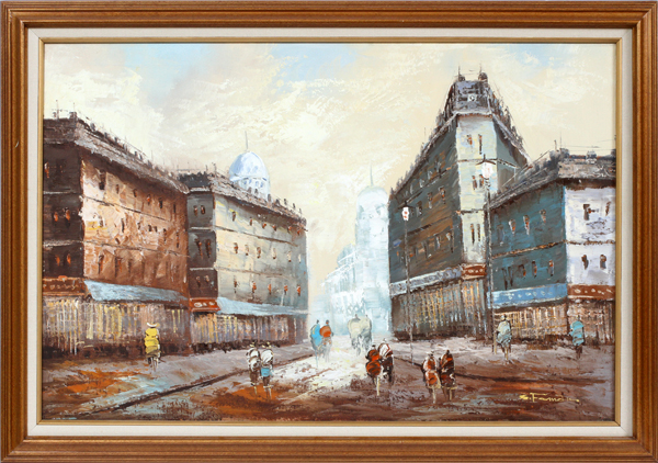 OIL ON CANVAS PARIS STREET SCENE, H 24