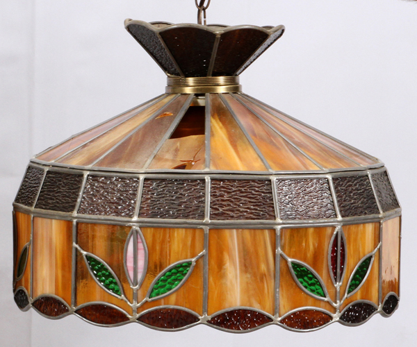 LEADED STAINED GLASS BOWL PENDANT HANGING LAMP