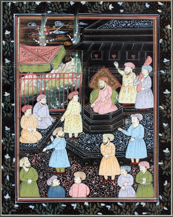 INDIAN MUGHAL-STYLE PAINTING ON SILK