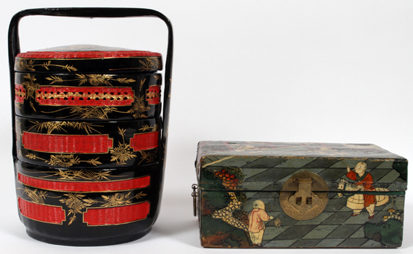 CHINESE PIGSKIN BOX AND JAPANESE JUBAKO 2PCS.