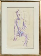 ROBERT G. KEMP PASTEL DRAWING OF A SEATED FIGURE
