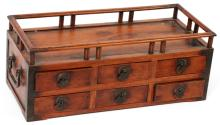 ROSEWOOD PORTABLE TABLE TOP CHEST W/ IRON HANDLES