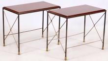 METAL & WOOD END TABLES PAIR