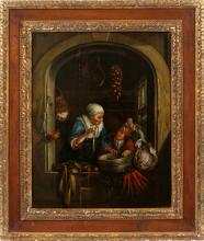 AFTER GERRIT DOU OIL ON WOOD PANEL 19TH C.