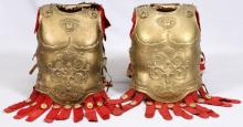 TWO PROP GOLD-PAINTED BREASTPLATES FROM BEN HUR