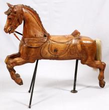 HAND CARVED PINE AMERICAN CAROUSEL HORSE