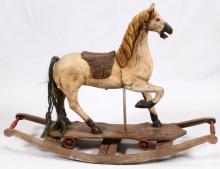 ANTIQUE CHILDS WOOD ROCKING HORSE